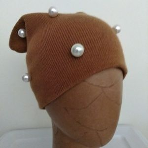 Camel pearl embellished beanie